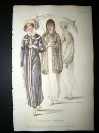 Ackermann 1810 Hand Col Regency Fashion Print. Promenade Dresses 4-5